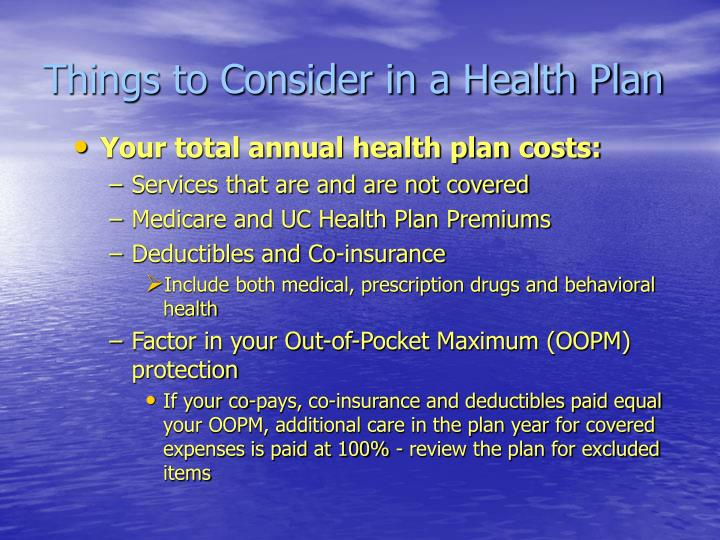 Things to Consider in a Health Plan