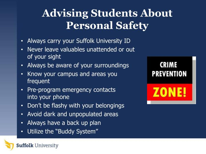 Advising Students About Personal Safety