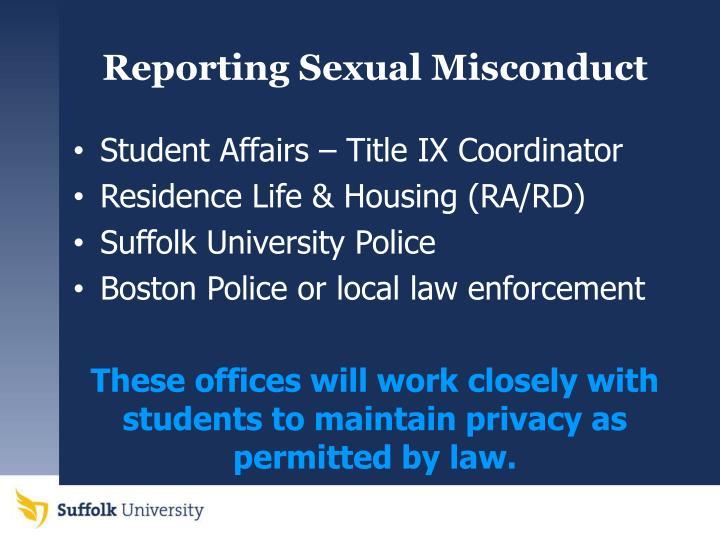 Reporting Sexual Misconduct