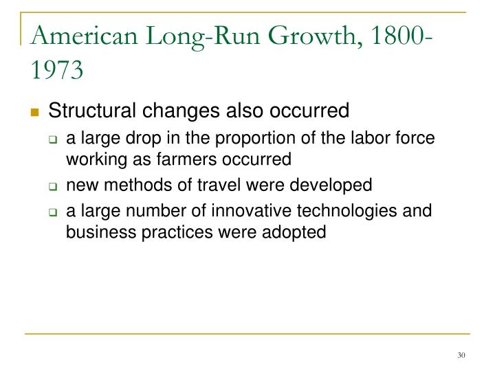 American Long-Run Growth, 1800-1973