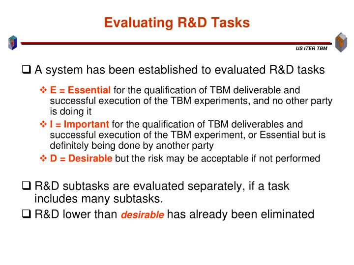 Evaluating R&D Tasks