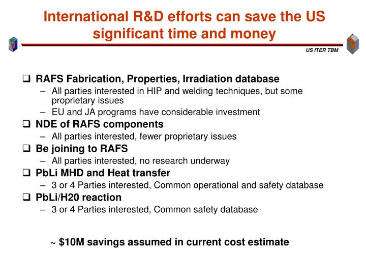 International R&D efforts can save the US significant time and money
