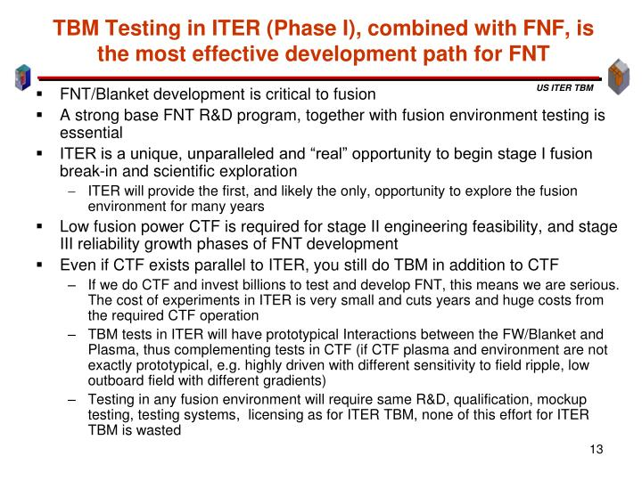 TBM Testing in ITER (Phase I), combined with FNF, is