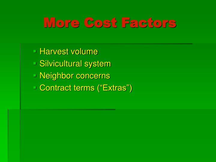 More Cost Factors