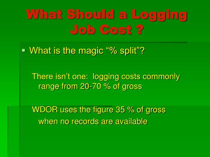 What Should a Logging Job Cost ?