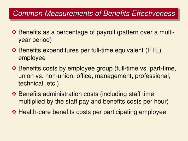 Common Measurements of Benefits Effectiveness