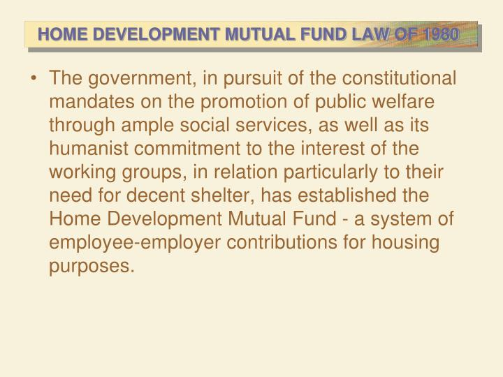 HOME DEVELOPMENT MUTUAL FUND LAW OF 1980