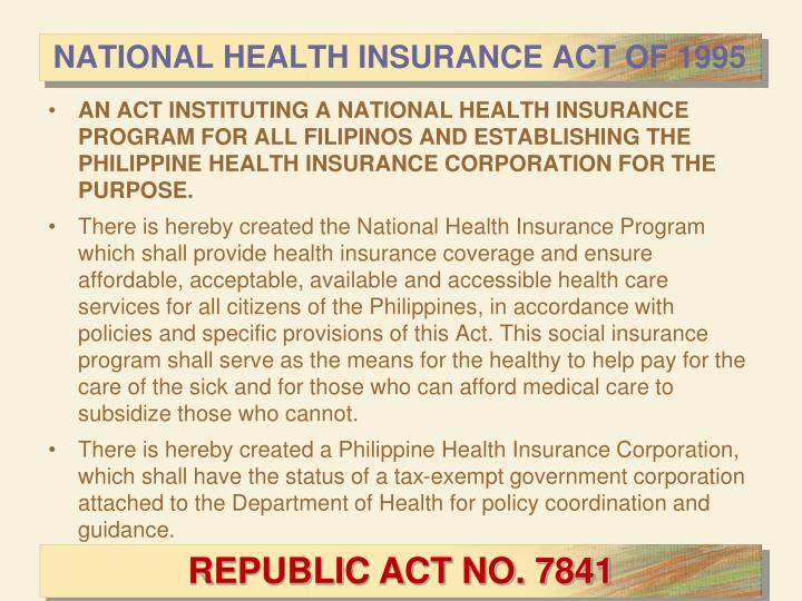 NATIONAL HEALTH INSURANCE ACT OF 1995