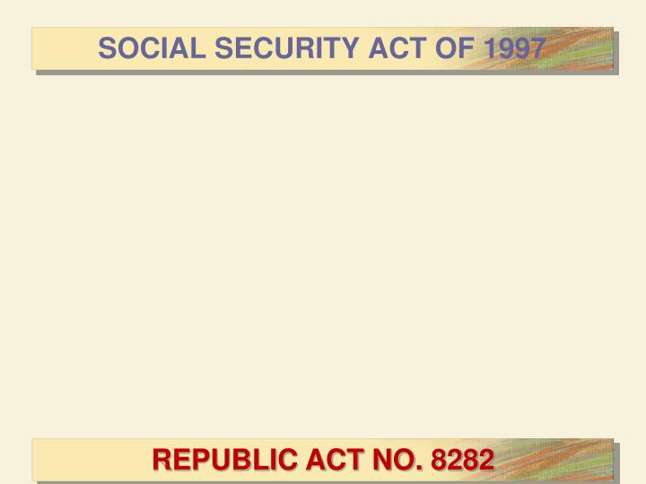 SOCIAL SECURITY ACT OF 1997