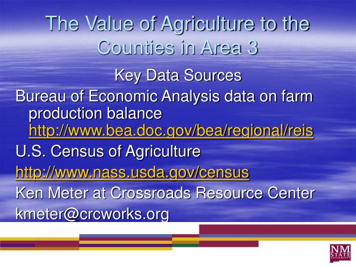The Value of Agriculture to the Counties in Area 3