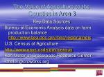 the value of agriculture to the counties in area 33