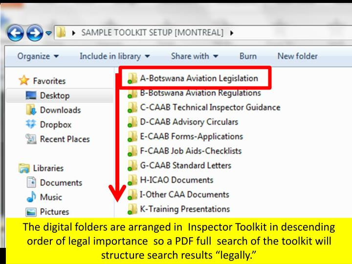 "The digital folders are arranged in  Inspector Toolkit in descending order of legal importance  so a PDF full  search of the toolkit will structure search results ""legally."""
