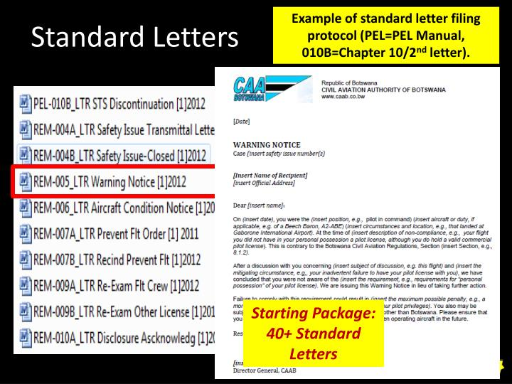 Example of standard letter filing protocol (PEL=PEL Manual, 010B=Chapter 10/2