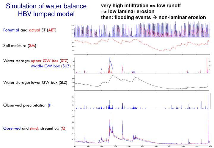 Simulation of water balance