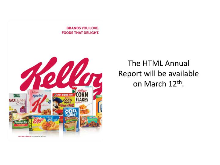 The HTML Annual Report will be available on March 12