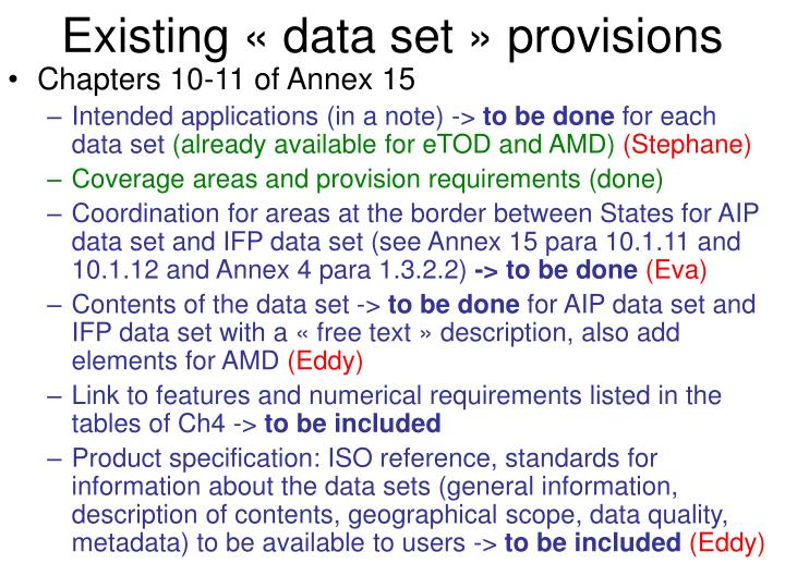 Existing « data set » provisions