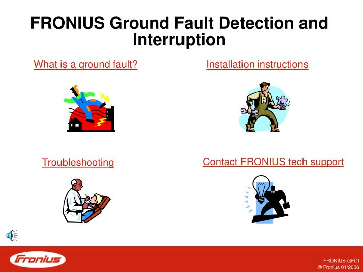 Fronius ground fault detection and interruption