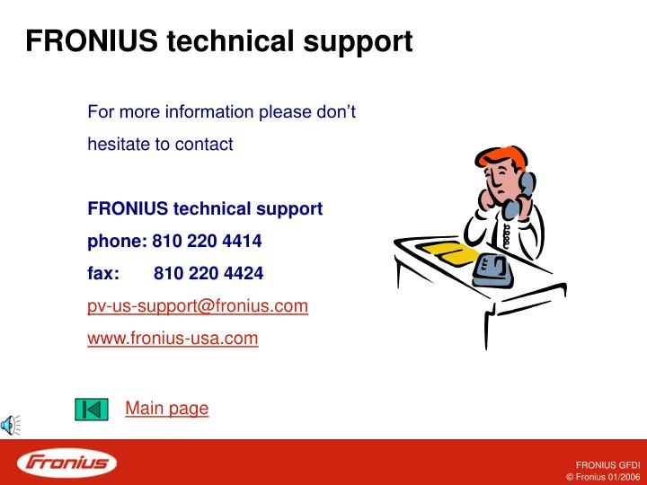 FRONIUS technical support