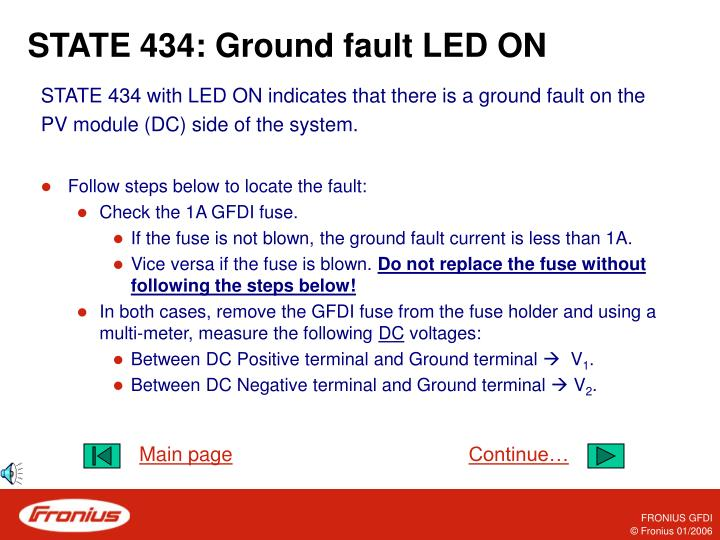 STATE 434: Ground fault LED ON