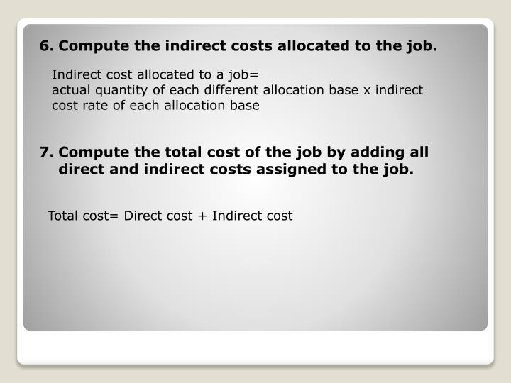 Compute the indirect costs allocated to the job.