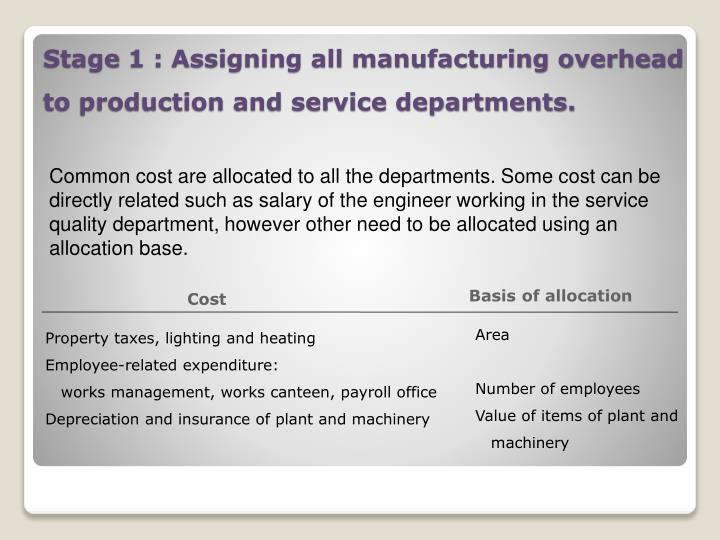 Common cost are allocated to all the departments. Some cost can be directly related such as salary of the engineer working in the service quality department, however other need to be allocated using an allocation base.