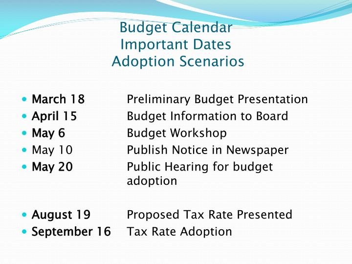 Budget calendar important dates adoption scenarios