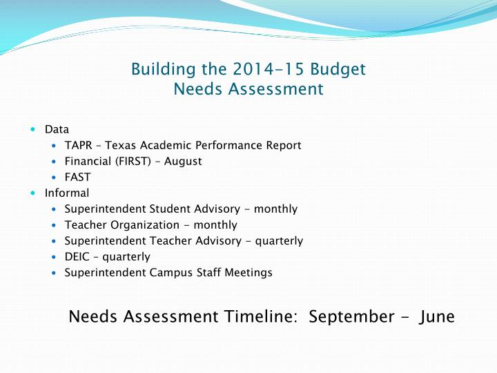 Building the 2014-15 Budget