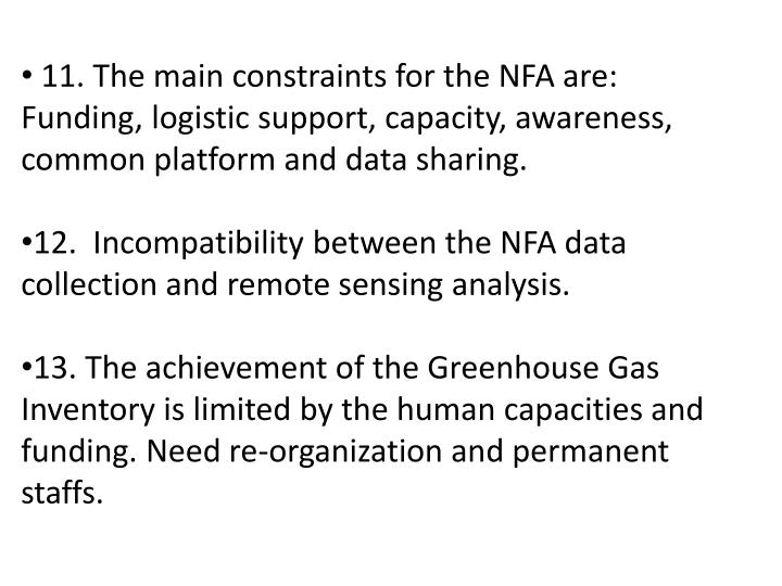 11. The main constraints for the NFA are: