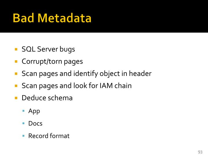 Bad Metadata
