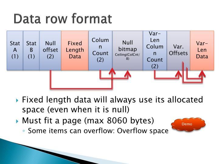Data row format
