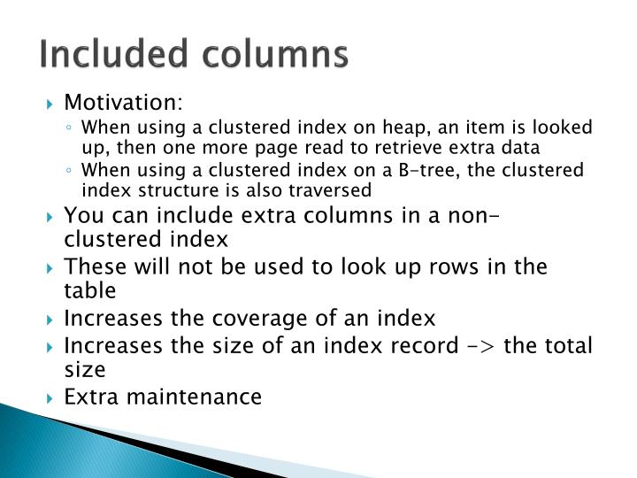 Included columns
