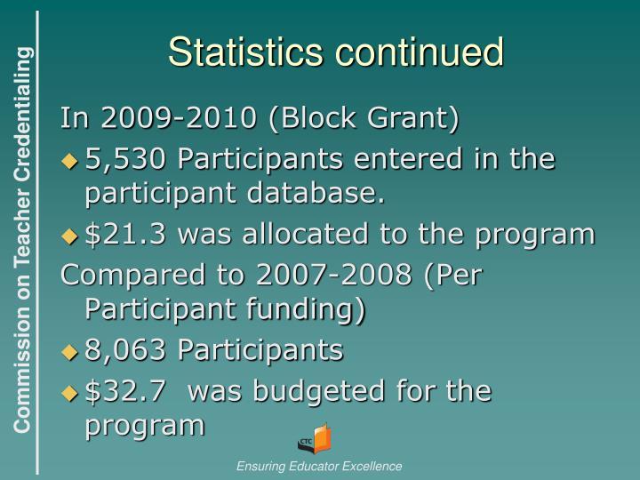 Statistics continued
