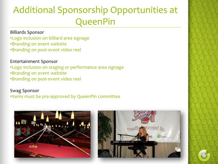 Additional Sponsorship Opportunities at QueenPin