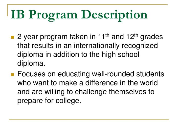 IB Program Description