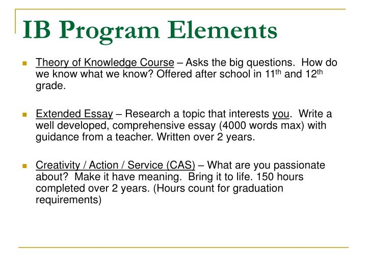 IB Program Elements