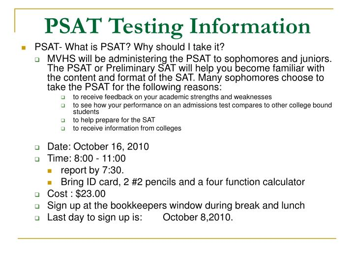 PSAT Testing Information