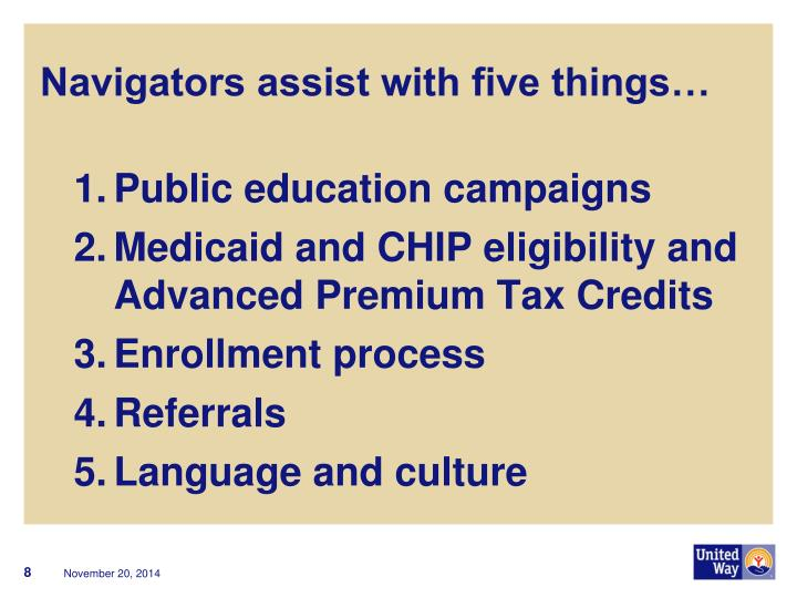 Navigators assist with five things…