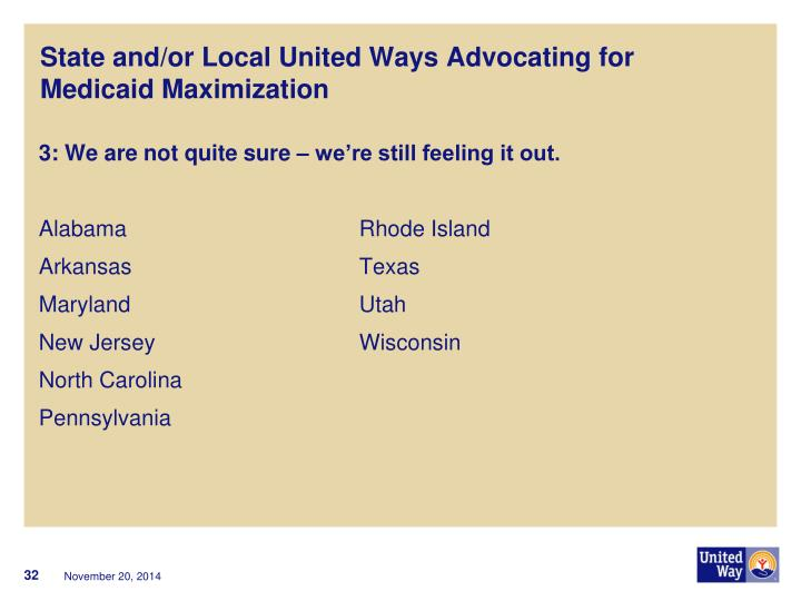 State and/or Local United Ways Advocating for    Medicaid Maximization