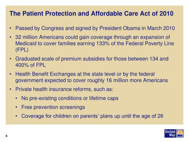 The Patient Protection and Affordable Care Act of 2010