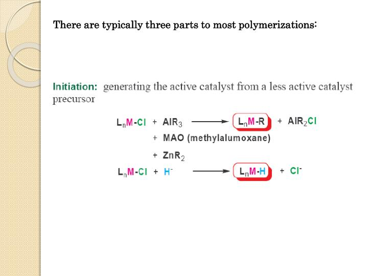 There are typically three parts to most polymerizations: