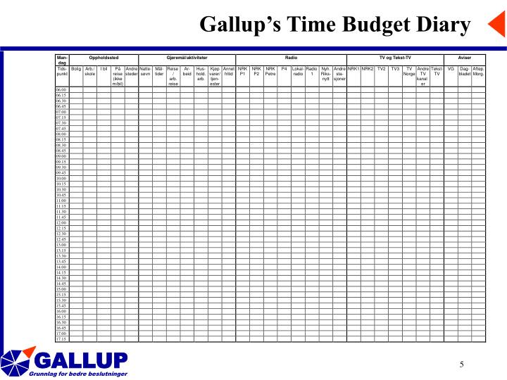 Gallup's Time Budget Diary