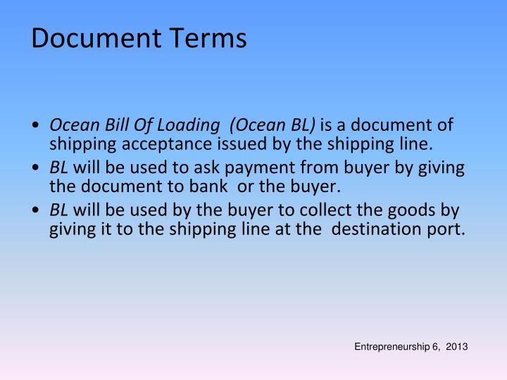 Ocean Bill Of Loading  (Ocean BL)