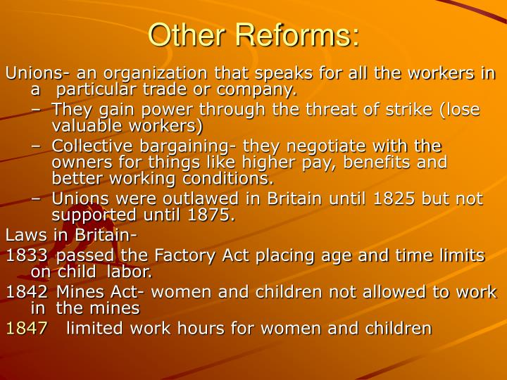 Other Reforms: