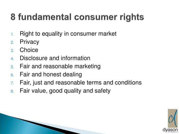 8 fundamental consumer rights
