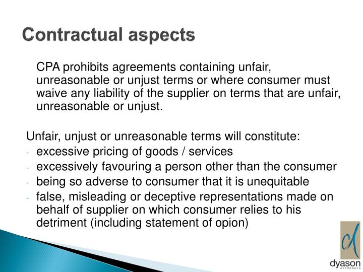 Contractual aspects