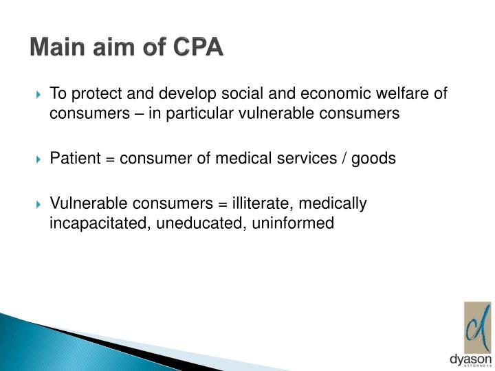 Main aim of CPA