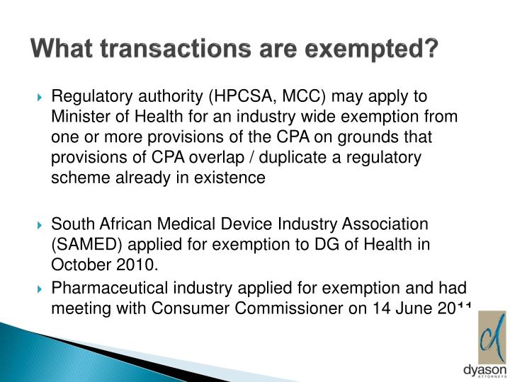 What transactions are exempted?