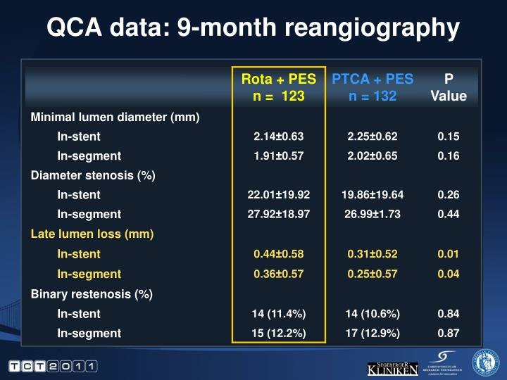 QCA data: 9-month reangiography