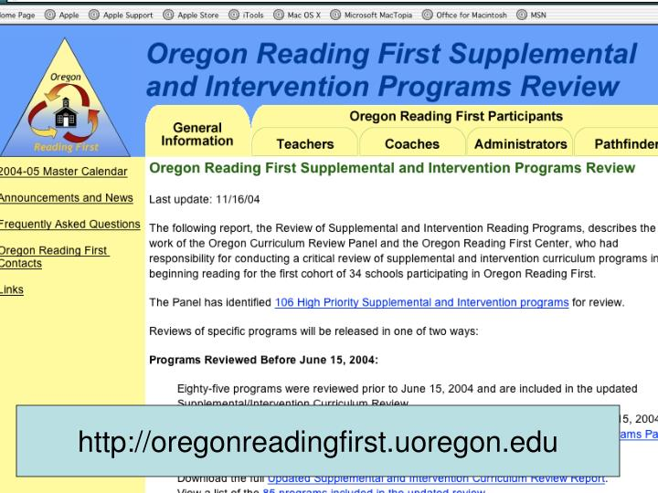 http://oregonreadingfirst.uoregon.edu