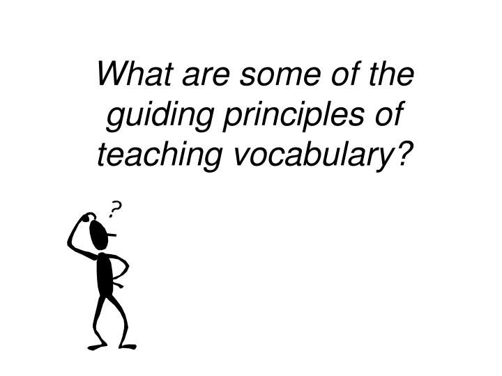 What are some of the guiding principles of teaching vocabulary?